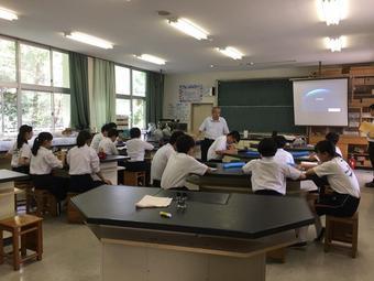 生駒市立緑ヶ丘中学校での出前授業